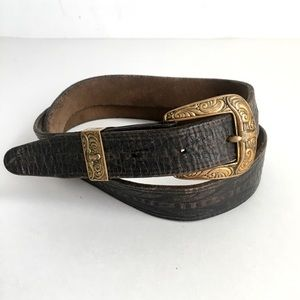 Vintage Distressed Leather Belt Brown Hand Tooled